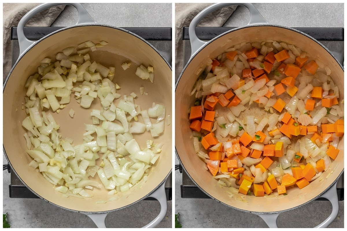 two pictures of onions, garlic, butternut squash, and jalapeño being sautéed in a dutch oven pot