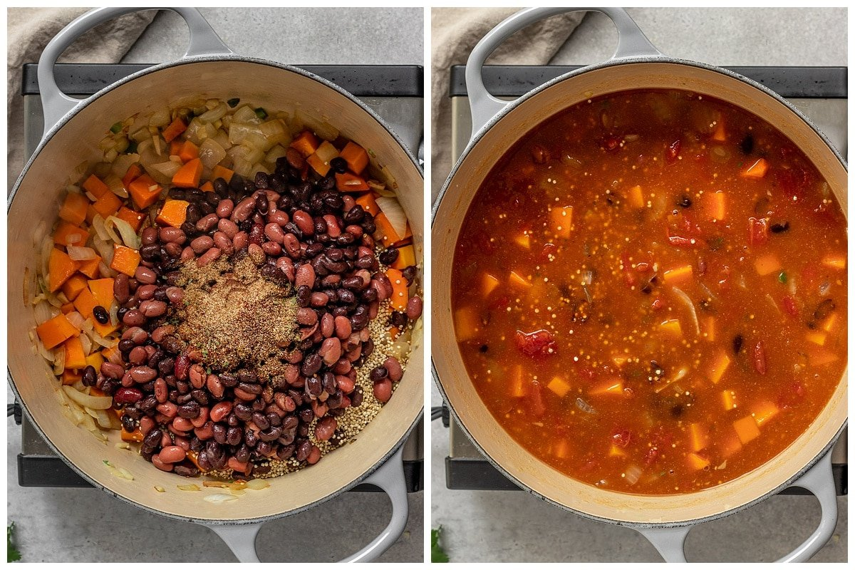 two pictures of vegan chili ingredients being added to pot