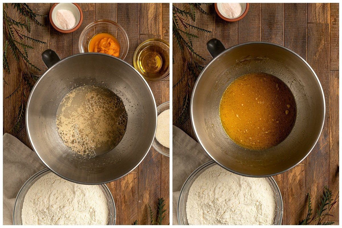 two pictures of mixing bowl filled with a mixture of yeast and water then additional wet ingredients for challah