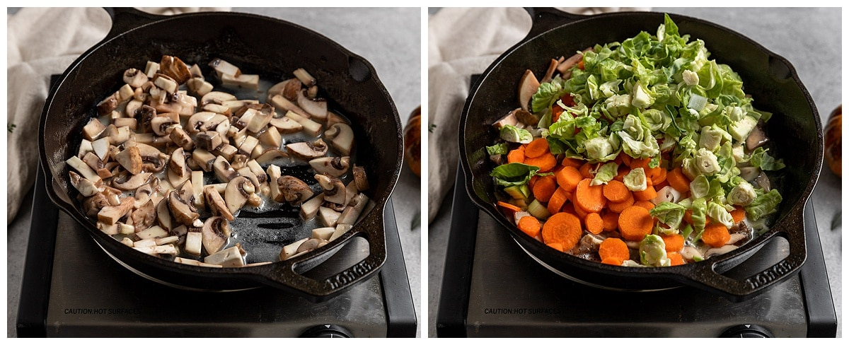 two pictures of cast iron skillet cooking mushrooms in butter and then adding in brussels sprouts, leeks, and carrots to be cooked