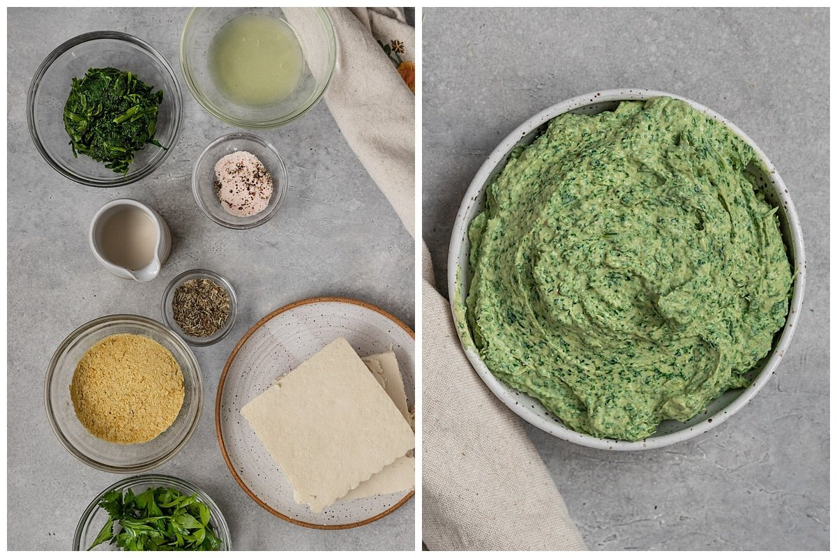 two pictures of tofu ricotta ingredients and a bowl of spinach tofu ricotta in a small bowl