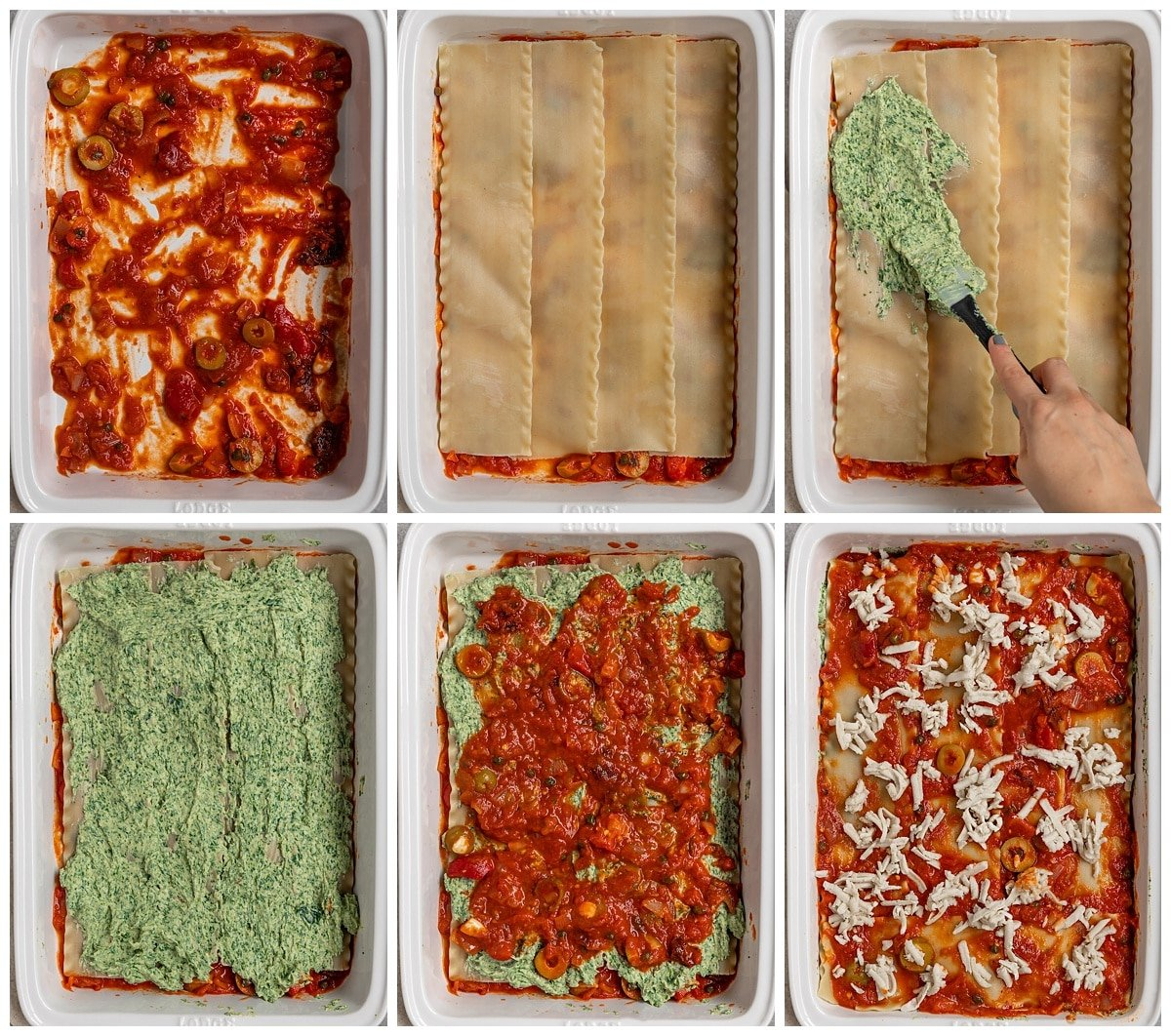 6 pictures showing lasagna being layered with noodles, spinach tofu ricotta, puttanesca sauce, and vegan cheese