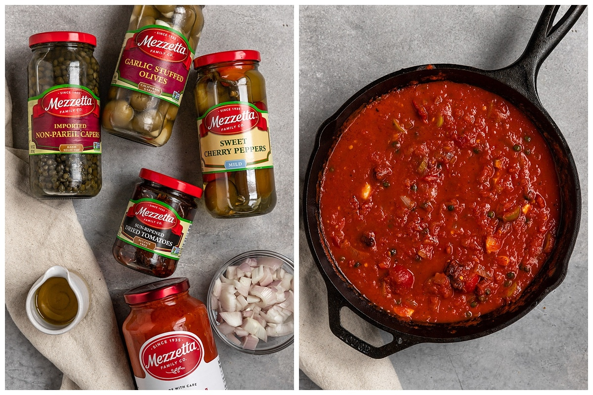 two pictures of mezzetta ingredients and a vegan puttanesca sauce in a cast iron skillet