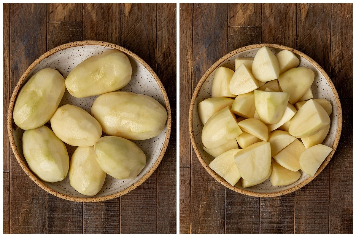 two pictures of bowl of peeled potatoes and peeled potatoes cut into fourths