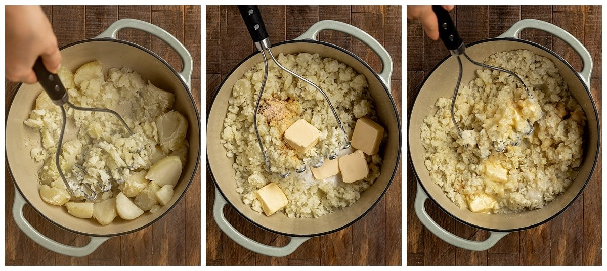 three pictures of pot with potatoes, butter, and coconut milk getting mashed with potato masher