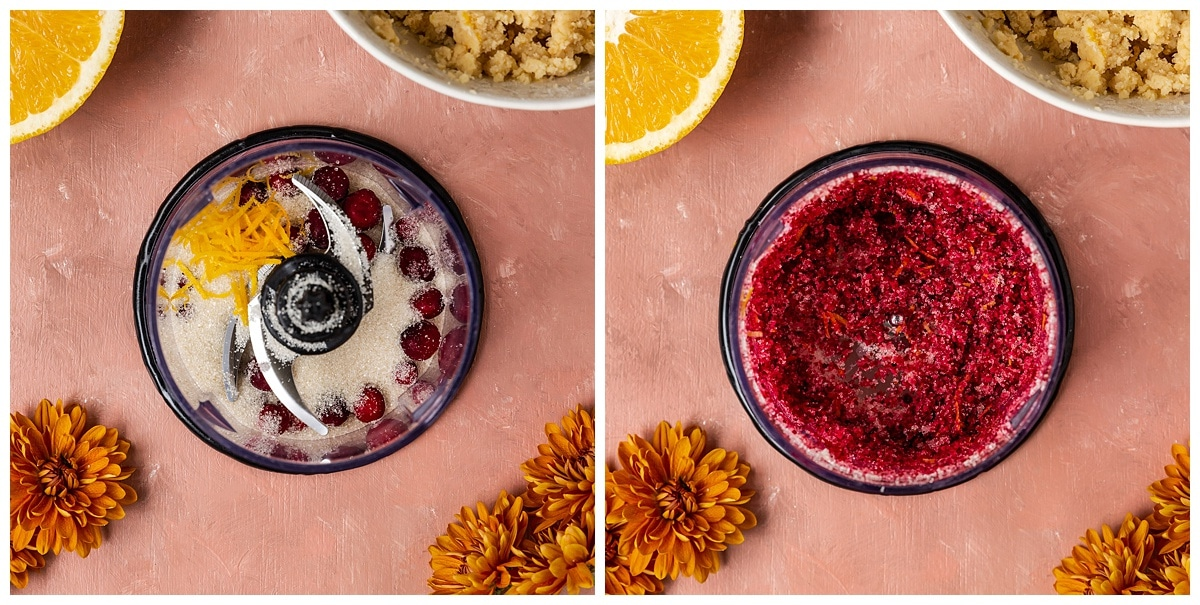 two pictures of cranberries, sugar, and orange zest getting blended in a food processor