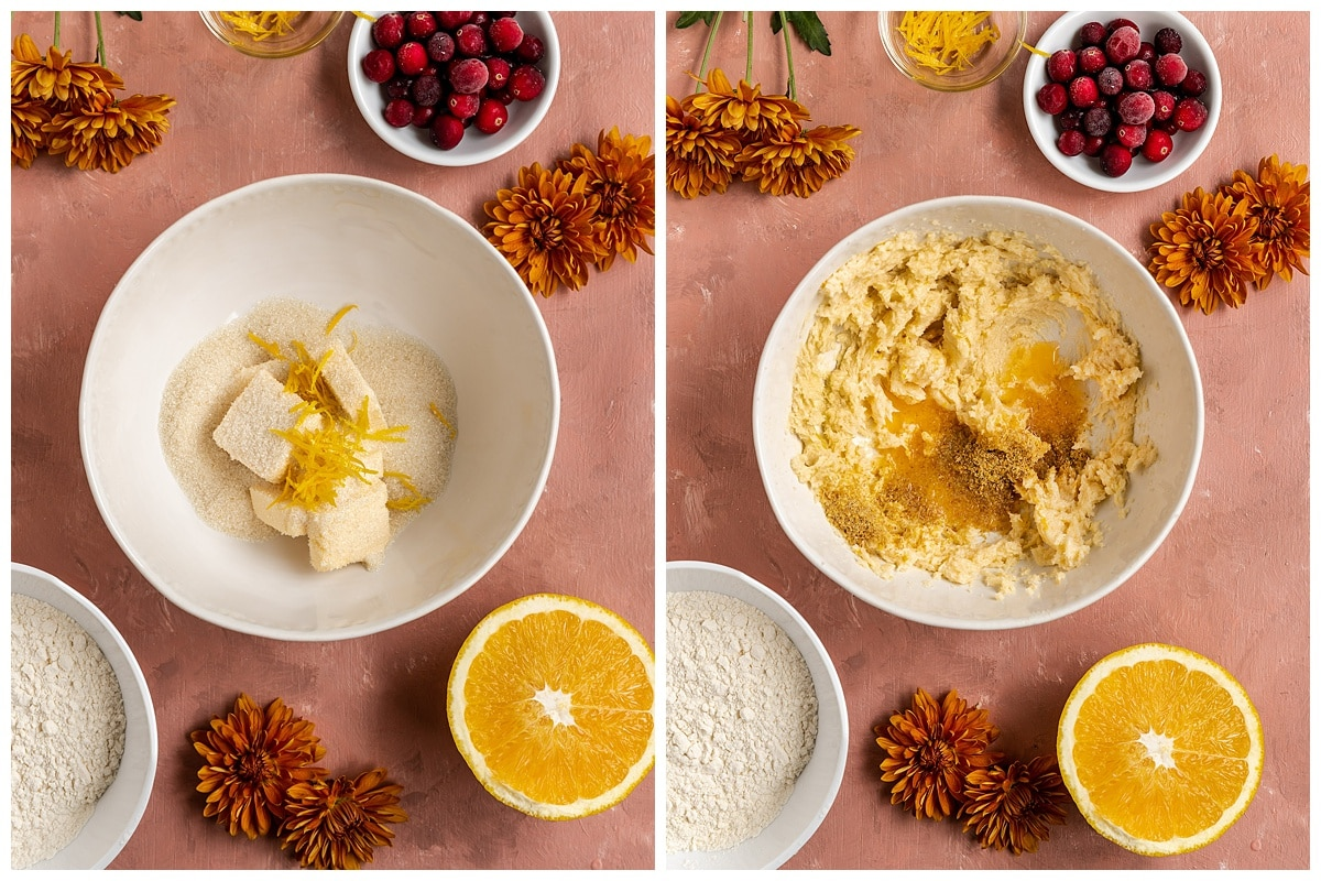 two pictures of butter, sugar, and orange zest getting creamed in mixing bowl and mixed with orange juice and ground flaxseed
