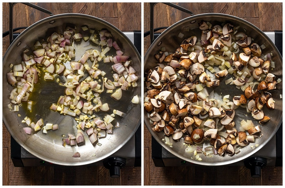 two pictures of garlic and shallots being sautéed in a pan and a second picture showing mushrooms added to pan