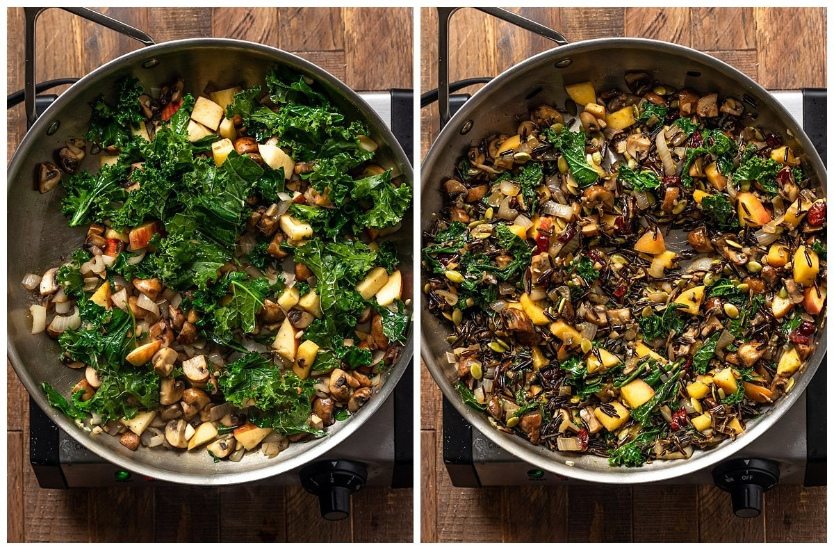 two pictures showing kale and apples being added to pan and a final pan full of wild rice stuffing with vegetables