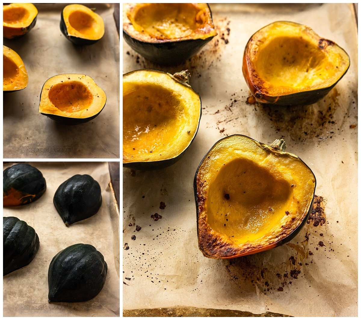 three pictures- two of acorn squash sliced in half before being baked and the third picture of baked acorn squash