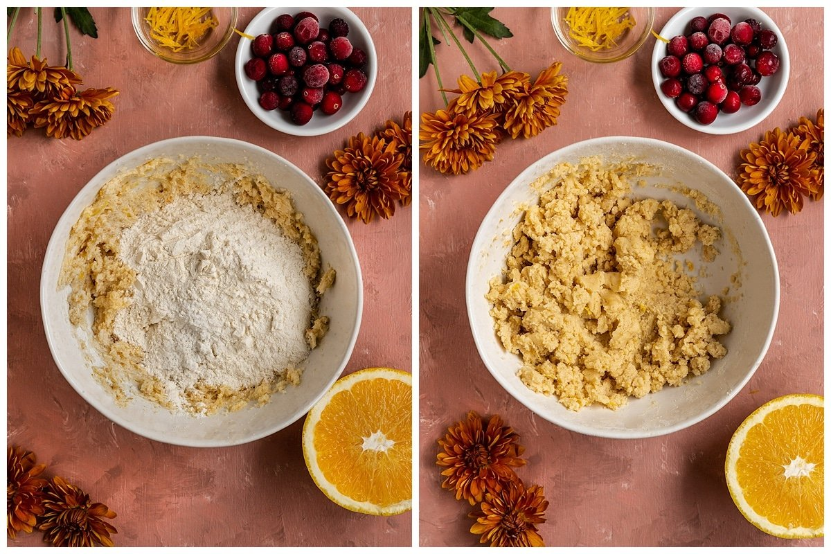 adding dry ingredients to orange cookie dough