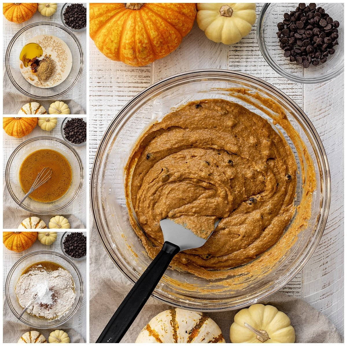 four pictures showing ingredients being added to mixing bowl to make a chocolate chip pumpkin bread batter