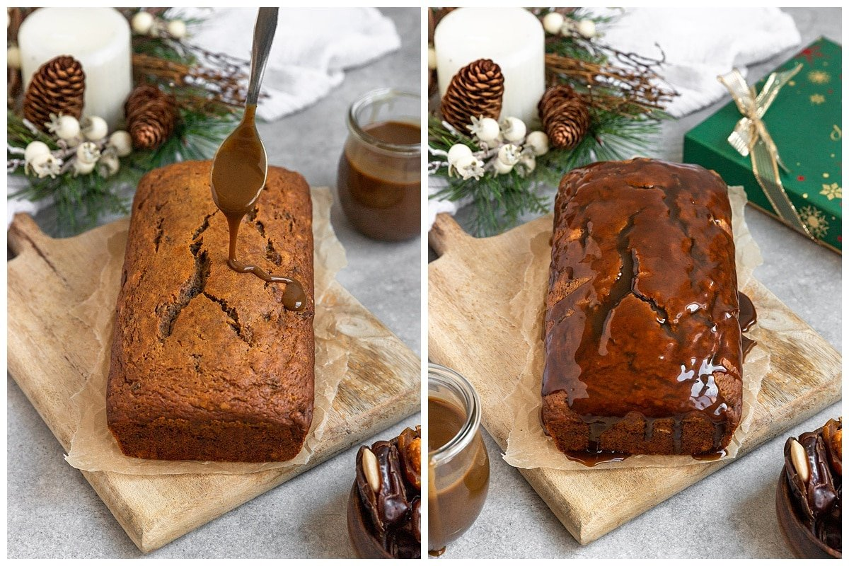 two pictures of date cake getting caramel drizzled on top and with caramel over entire cake