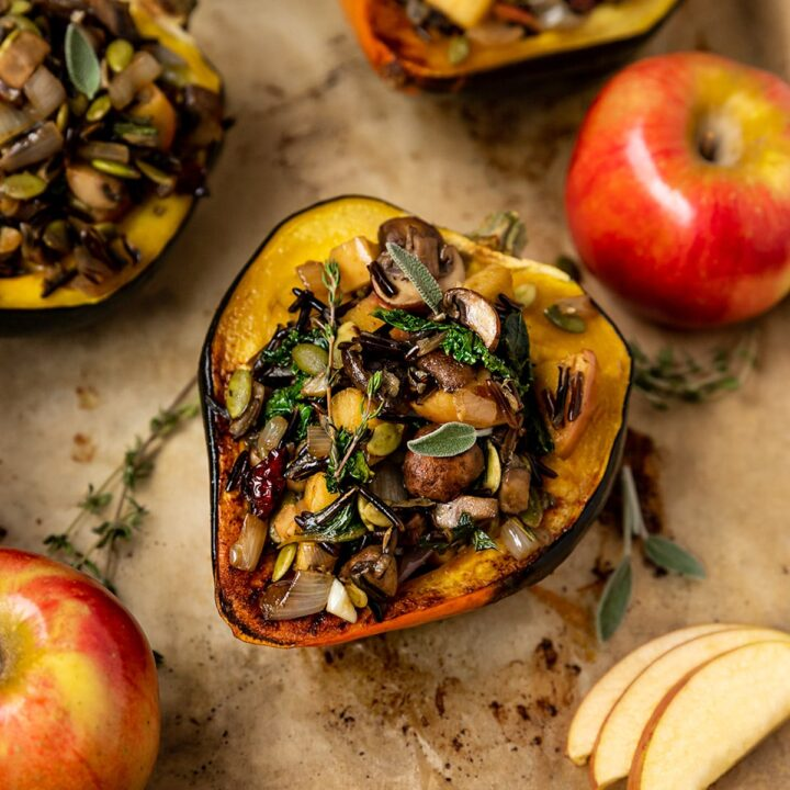 acorn squash stuffed with wild rice, apples, mushrooms, kale, topped with fresh sage & fresh thyme