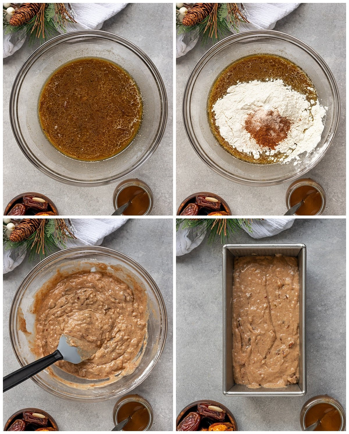 four pictures of ingredients being added to mixing bowl for date cake batter then added to a loaf pan before baking