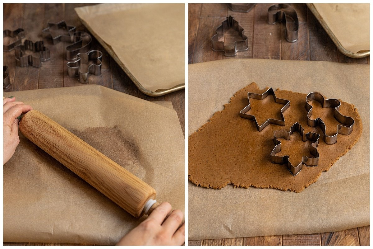 two pictures of gingerbread dough being rolled out and using cookie cutters