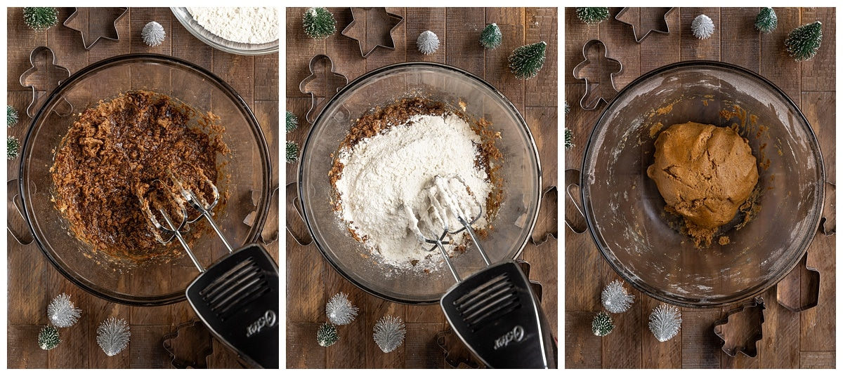 three pictures of ingredients adding to mixing bowl to make a gingerbread cookie dough