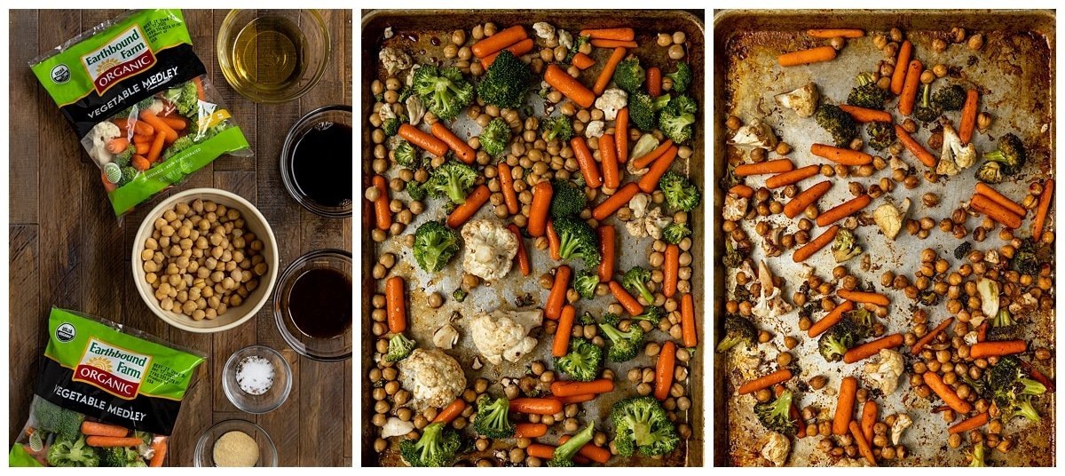 three pictures of veggies and chickpeas before and after being roasted