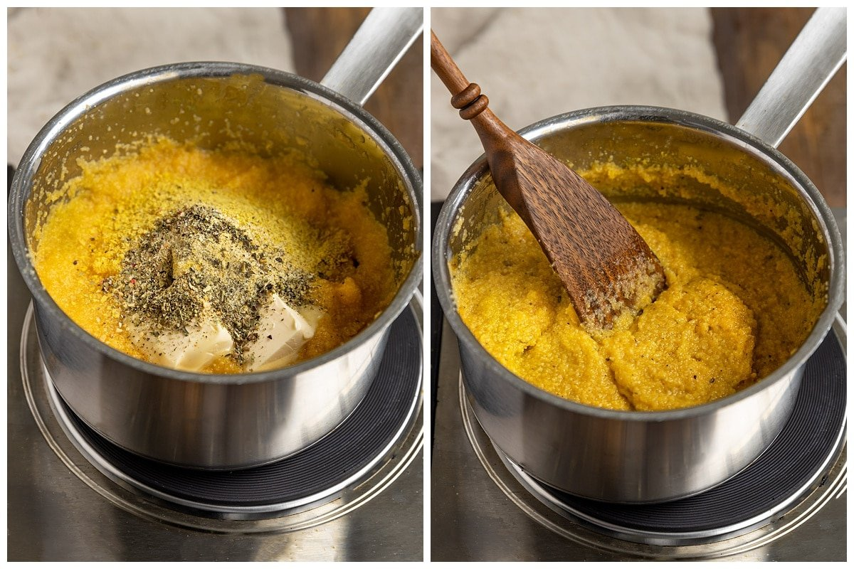 two pictures of a pot of polenta getting butter, spices, and salt added