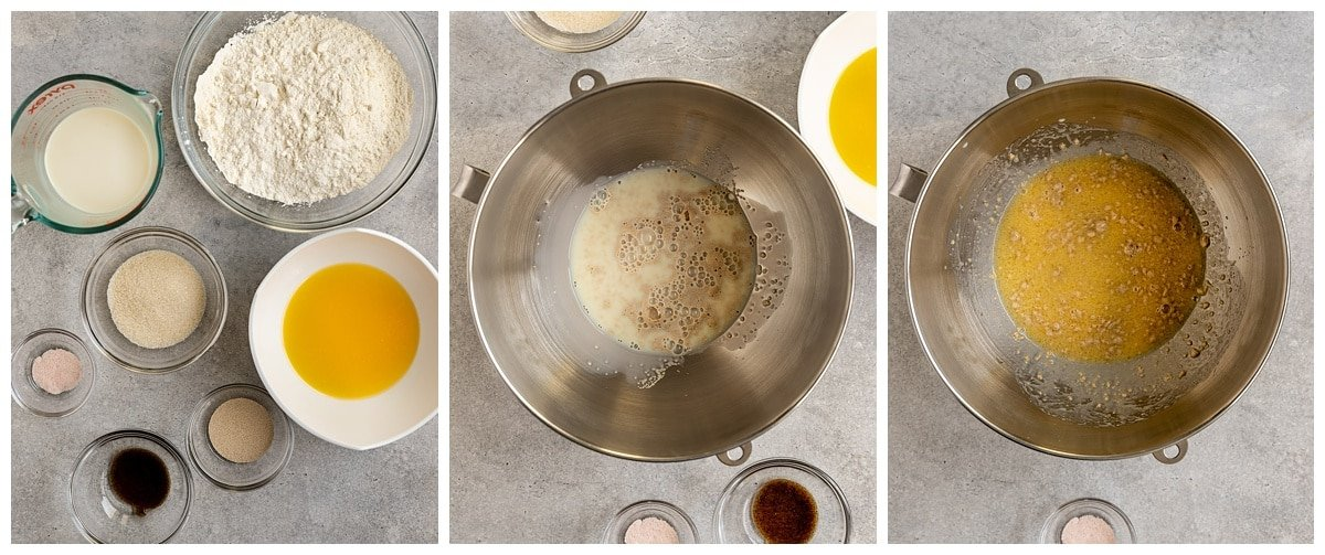 three pictures of babka ingredients and wet ingredients in mixing bowl