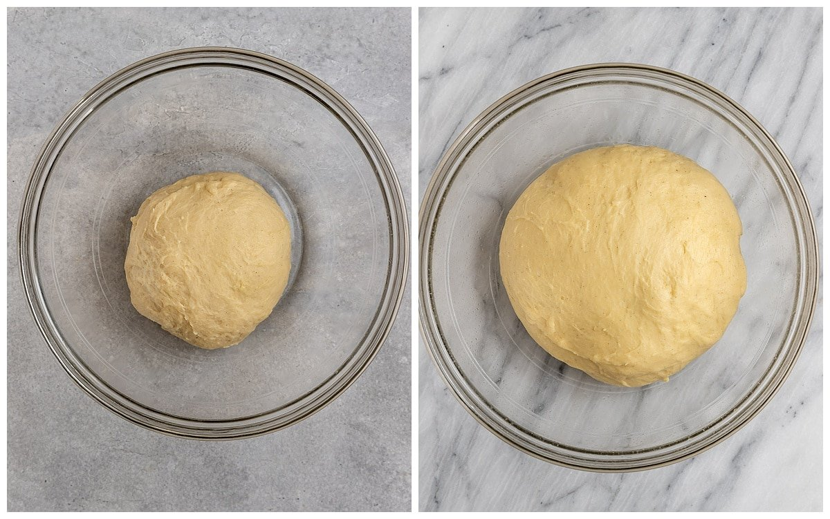 Left: Babka dough after kneading, Right: Babka dough after the first rise