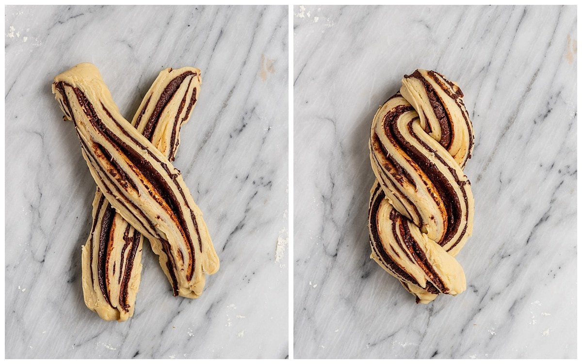 two pictures of babka dough slices as X and twisted together