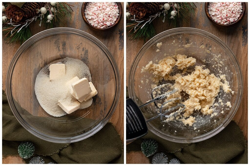 two pictures of mixing bowl with vegan butter and sugar getting creamed together