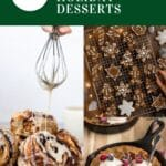 """image with desserts and text that reads """"22 easy & festive vegan holiday desserts"""""""