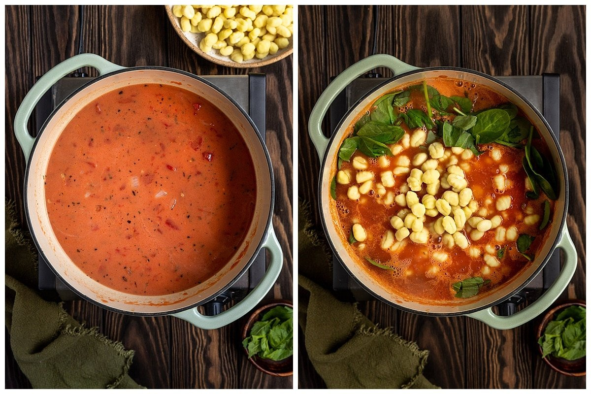 two pictures of gnocchi, spinach, and basil being added to pot with tomato soup