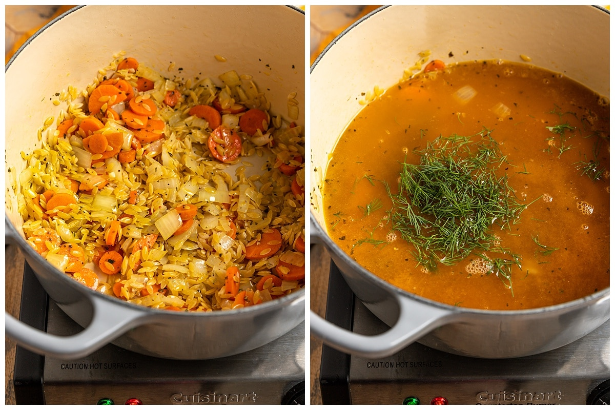 two pictures of orzo being toasted with veggies and broth and fresh dill added to a dutch oven pot
