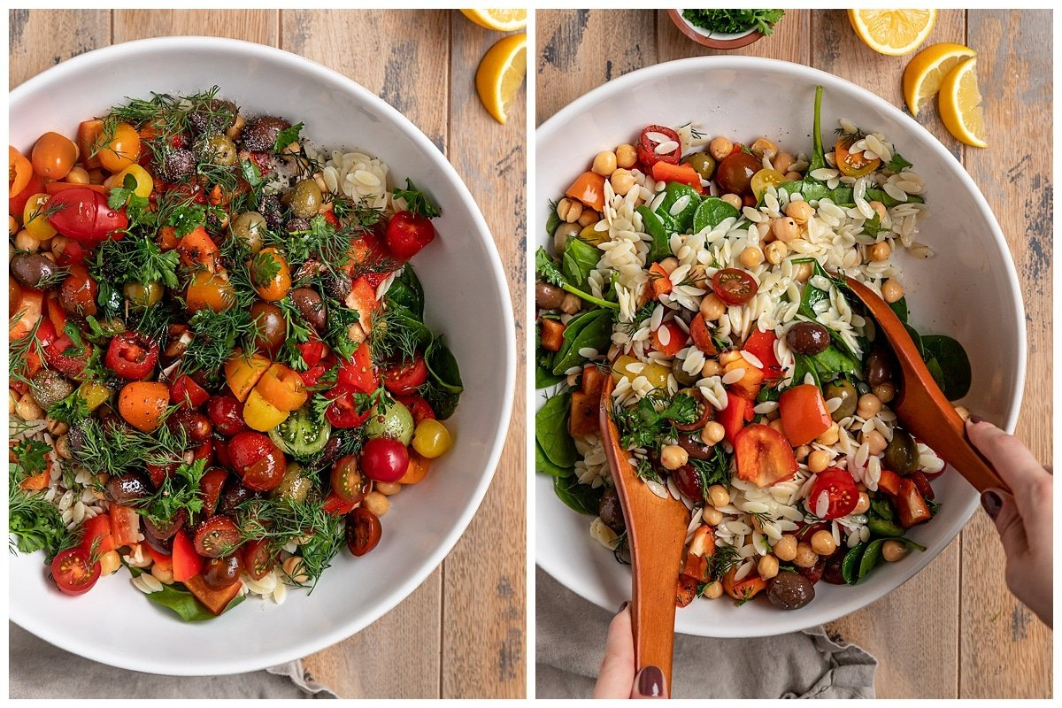 two pictures of salad ingredients being added to a bowl and tossed together