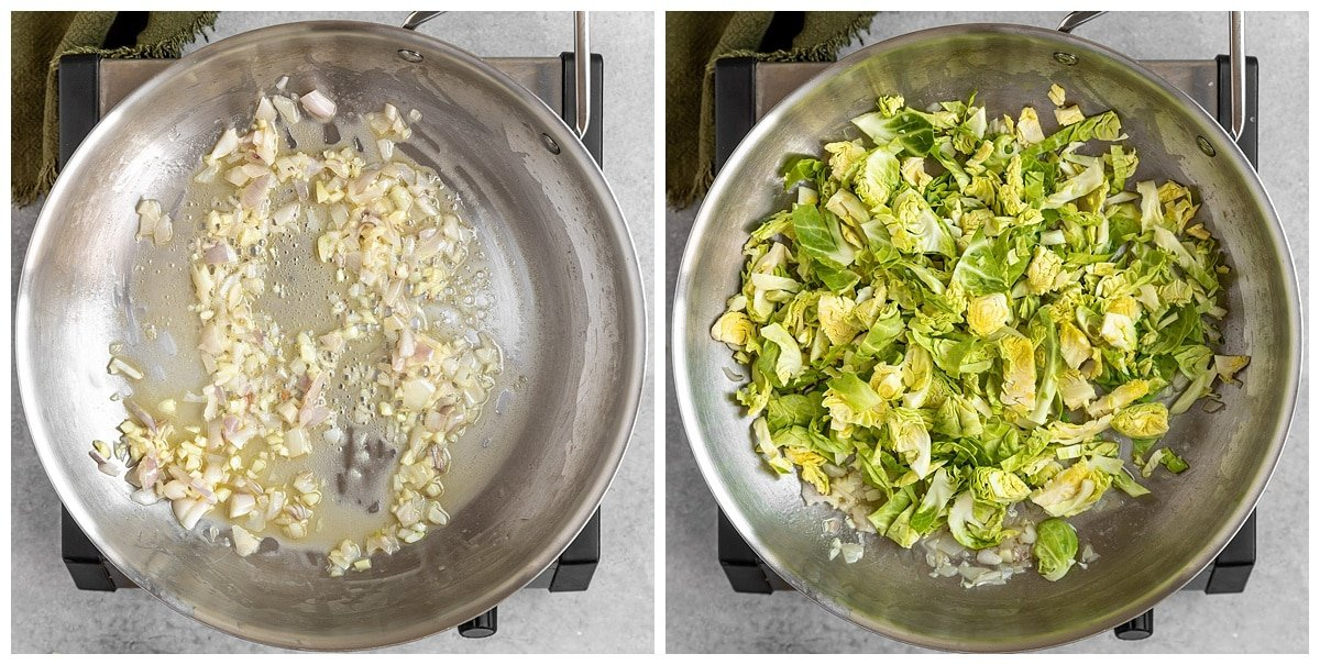 two pictures of shallots and garlic being sauted then brussel sprouts being added in