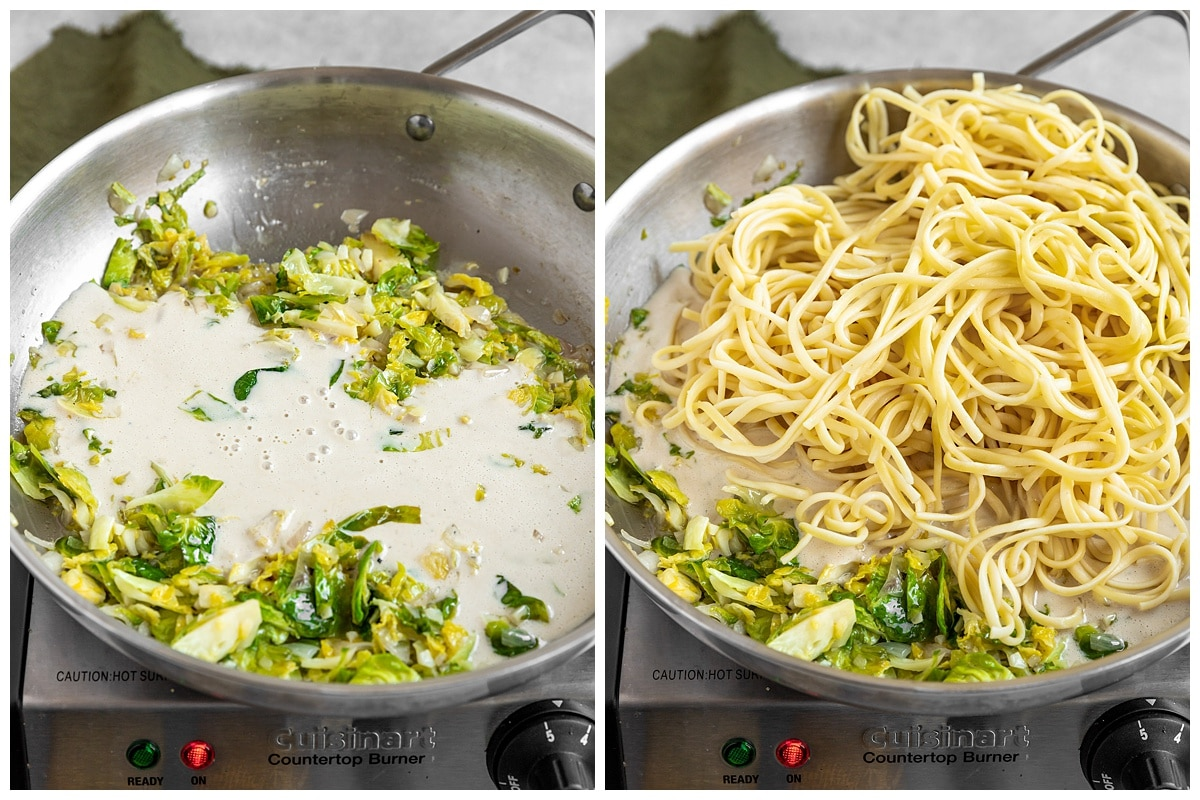 two pictures of tahini sauce and pasta getting added to pan of sauteed brussels sprouts and shallots