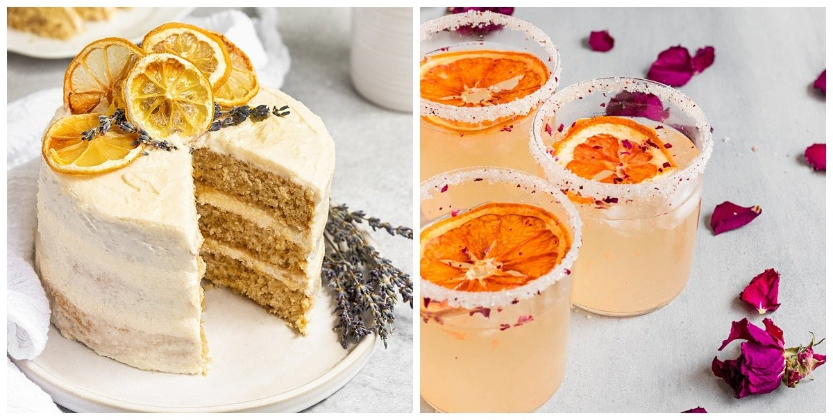 a lemon lavender cake and cocktail using dried citrus wheels as a garnish