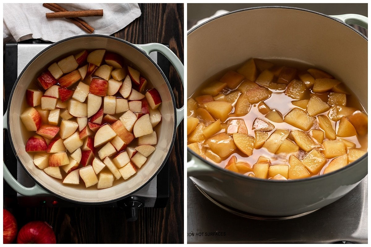 two pictures of apples in pot with apple juice before and after cooking