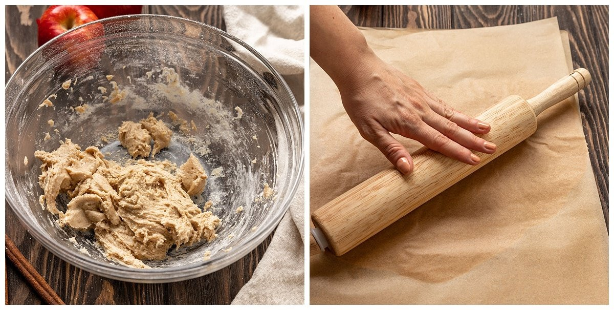 two pictures of cooking dough in bowl and dough getting rolled between parchment paper