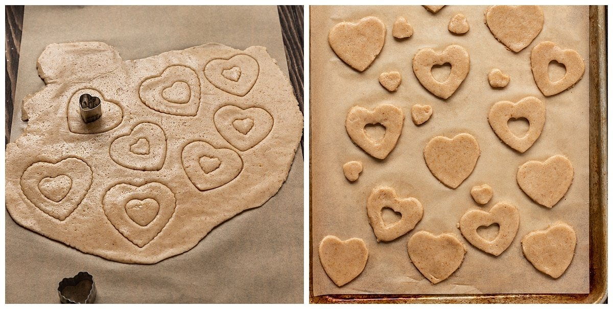 two pictures of cookie dough being cut into heart shapes