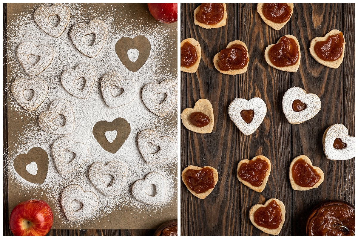 two pictures of heart cookies getting dusted with powdered sugar and apple butter added in