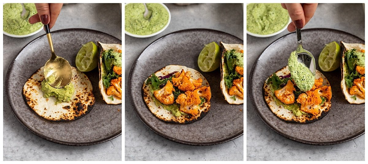 three pictures of taco being topped with mashed avocado, buffalo cauliflower, and a green cilantro sauce