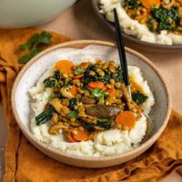 a bowl of mashed potatoes topped with a stew of mushrooms, carrots, lentils, and kale with fresh cilantro on top
