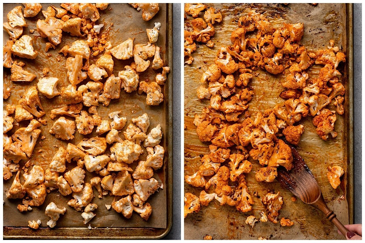 two pictures of cauliflower with buffalo sauce and seasoning on a sheet pan before and after being roasted