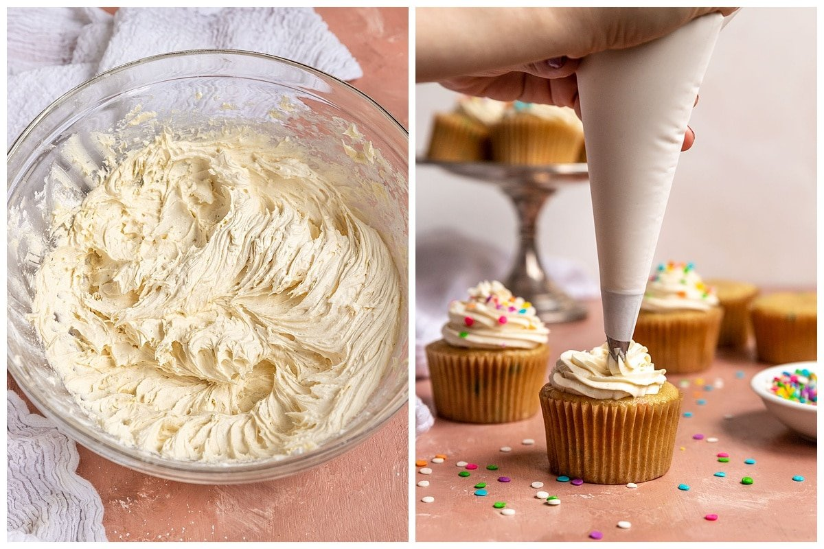 two pictures of bowl of vanilla frosting and frosting getting piped onto a cupcake