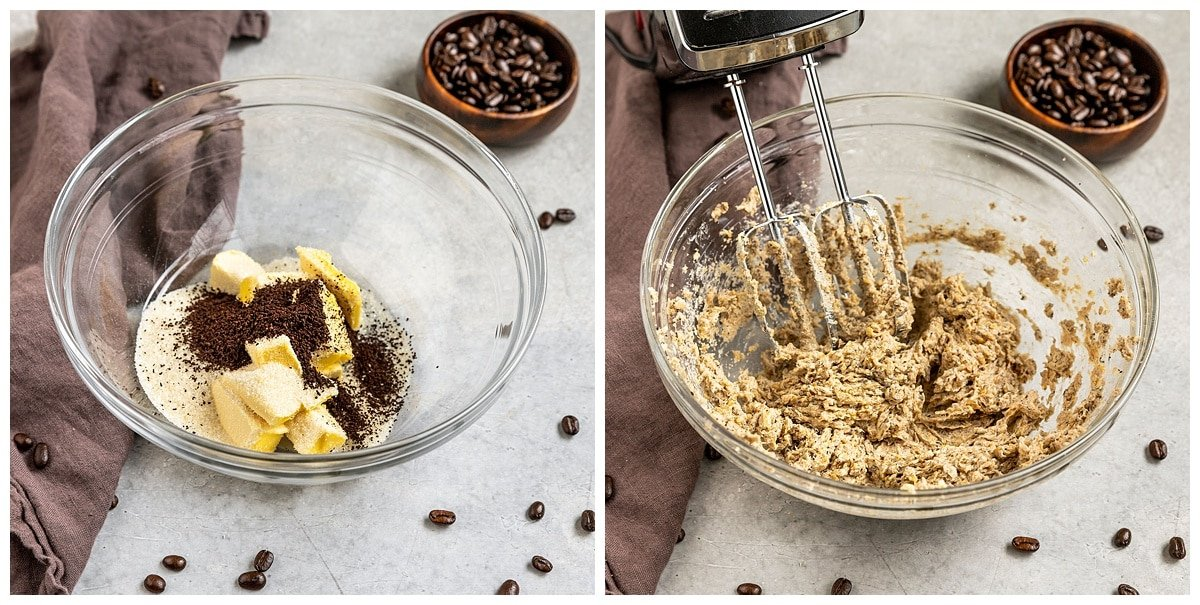 two pictures of butter sugar and espresso being creamed together in mixing bowl