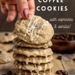 vegan coffee cookies with espresso and vnailla