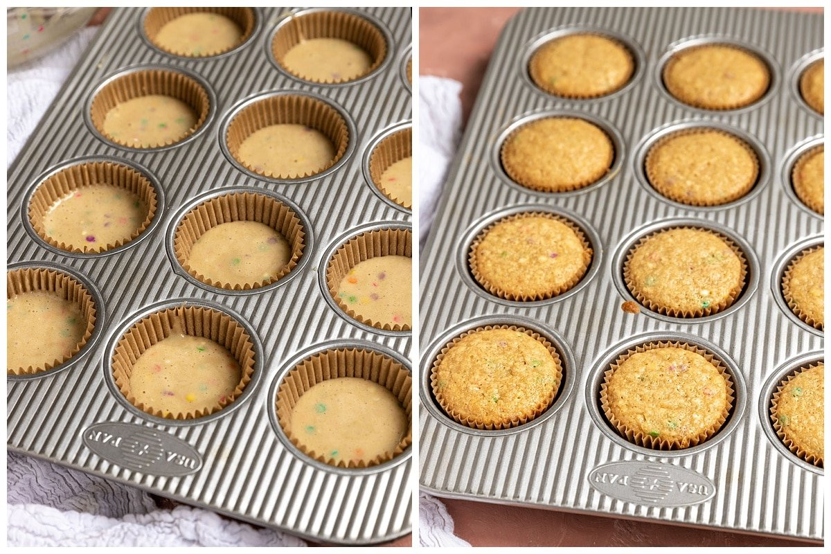 two pictures of muffin tin filled with cupcake batter and cooked funfetti cupcakes