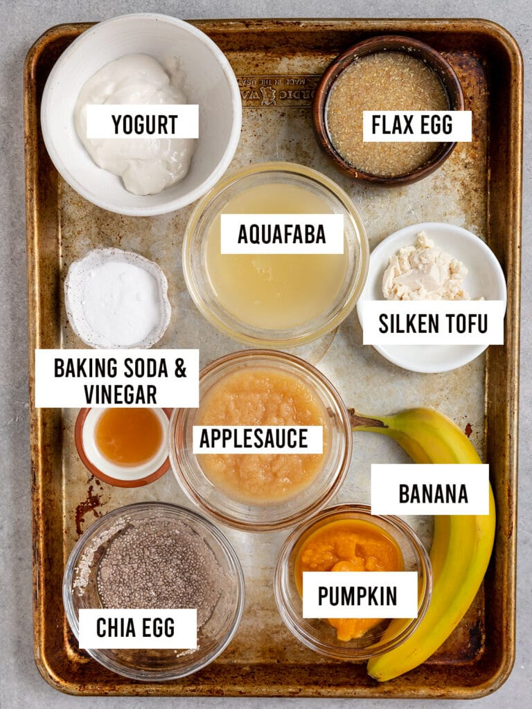 overhead shot of tray with labeled ingredients including aquafaba, banana, pumpkin, baking soda and vinegar, flax egg, chiaseed egg, applesauce, yogurt, and silken tofu