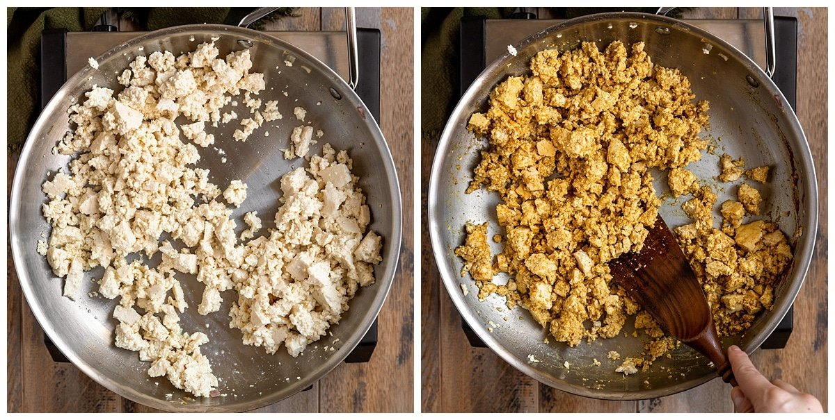 two pictures of tofu being scrambled with seasoning
