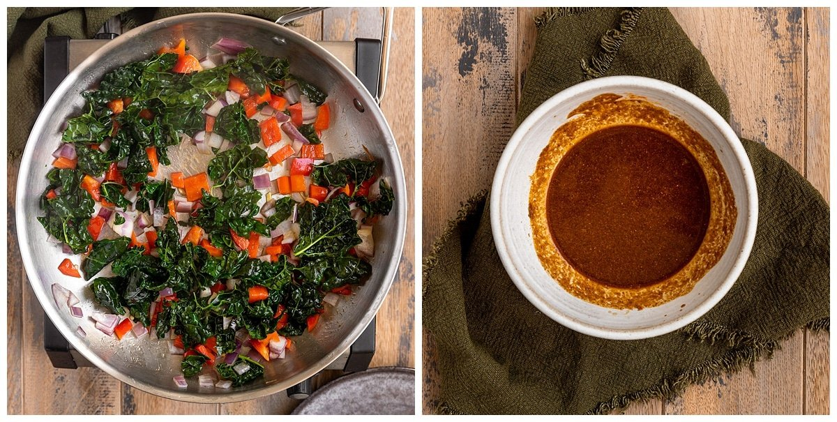 two pictures of vegetables being cooked in pan and a bowl of sauce
