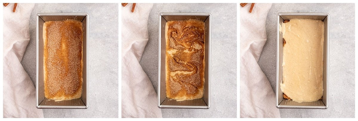 three pictures of cinnamon cake batter getting topped with cinnamon sugar, swirled with a knife, then layered with more batter