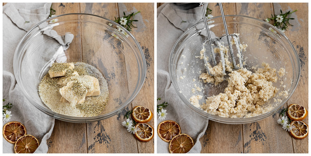 Two pictures of butter, sugar, and chamomile tea leaves being creamed together in mixing bowl